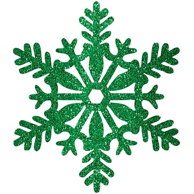 Amscan Glitter Snowflake Decoration, Green, Plastic, 11, 5/Pack (191001)
