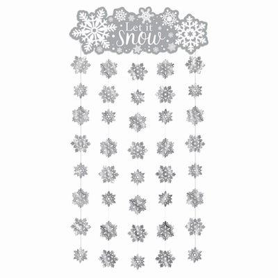 "Amscan Snowflake Doorway Curtain, 77"" X 39"","