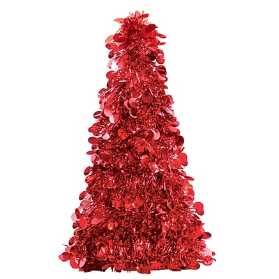 Amscan Tinsel Tree Centerpiece, Red, 10, 6/Pack (240598)