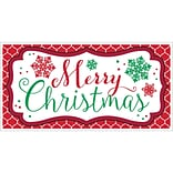 Amscan Merry Christmas Plastic Banner, 33.5 x 65, 5/Pack (120218)
