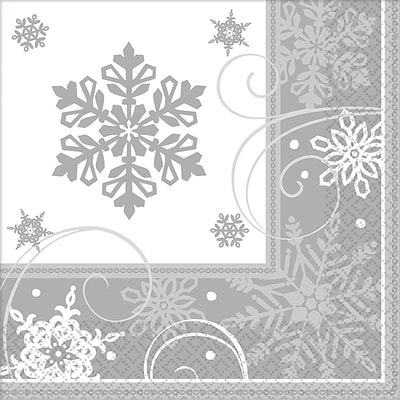 Amscan Sparkling Snowflake Lunch Napkin, 6.5 x 6.5, 5/Pack, 16 Per Pack (511559)