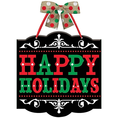 Amscan Happy Holidays Sign, 12 x 11.75, MDF, 4/Pack (241596)