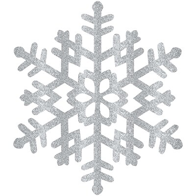 Amscan Glitter Snowflake, Silver, Plastic, 15, 4/Pack (190492)