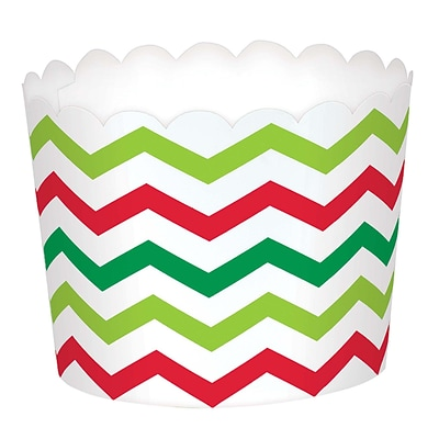 Amscan Mini Chevron Christmas Scalloped Cups, Paper, 2.25 x 2.75 x 2.75, 3/Pack, 24 Per Pack (400128)