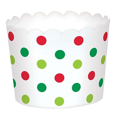 Amscan Mini Polka Dot Christmas Scalloped Cups, Paper, 1.75 x 2.375 x 2.375, 3/Pack, 36 Per Pack (400127)