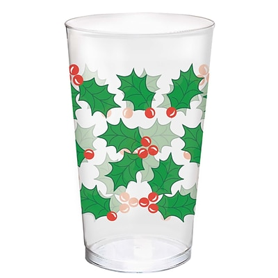 Amscan Holly Plastic Tumblers, 16oz (580011)