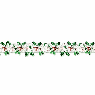Amscan Holly and Berry Tinsel Garland, 18, 2/Pack (223107)
