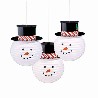 Amscan Snowman Lanterns with Hats, 12.5 x 9.5, Paper, (241317)
