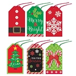 Amscan Modern Christmas Glitter Gift Tags,  2.75 x 1.5, 4/Pack, 36 Per Pack (260076)