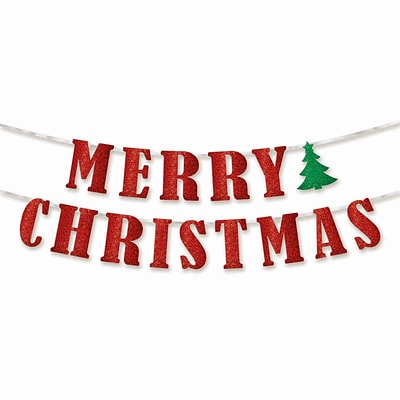 Amscan Merry Christmas Ribbon Banner, 5 x 12, 2/Pack (210279)