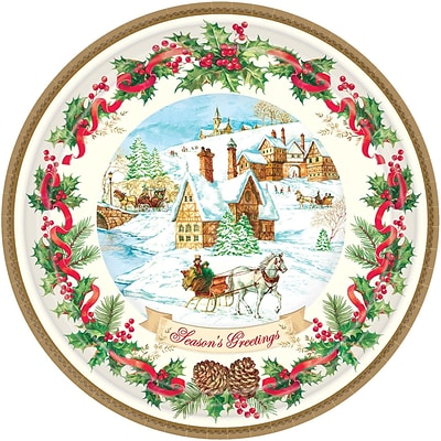 Amscan Holiday Magic Paper Plate, 7 x 7, 3/Pack, 18 Per Pack (741685)