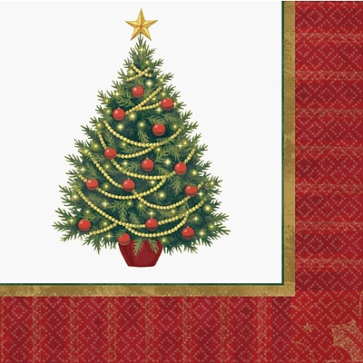 Amscan Twinkling Tree Luncheon Napkin, 6.5 x 6.5, 2/Pack, 100 Per Pack (719729)