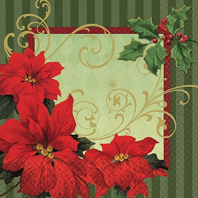 Amscan Vintage Poinsettia Lunch Napkin, 6.5 x 6.5, 3/Pack, 36 Per Pack (719543)