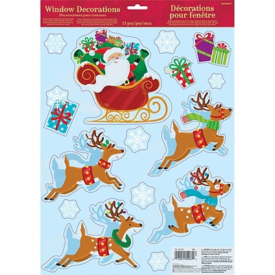 Amscan Santa with Sleigh Window Decoration, 6/Pack (241621)