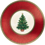 Amscan Classic Christmas Tree Metallic Plate, 7 x 7, 5/Pack, 8 Per Pack (549900)