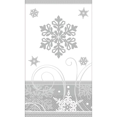 Amscan Sparkling Snowflake Guest Towel 7.75 x 4.5, 5/Pack, 16 Per Pack (531559)