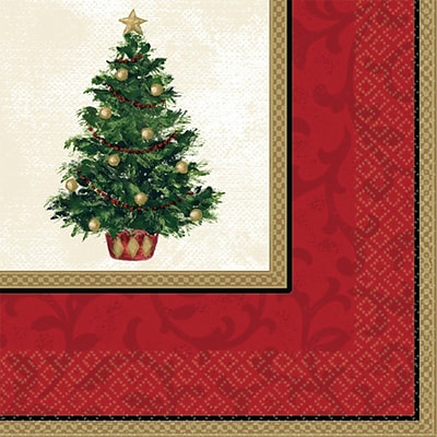 Amscan Classic Christmas Tree Beverage Napkin, 5 x 5, 5/Pack, 16 Per Pack (509900)