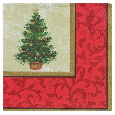 Amscan Classic Christmas Tree Lunch Napkin, 6.5 x 6.5, 5/Pack, 16 Per Pack (519900)
