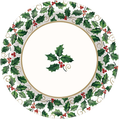 Amscan Seasonal Holly Paper Plate, 6.75 x 6.75, 8/Pack, 40 Per Pack (551330)