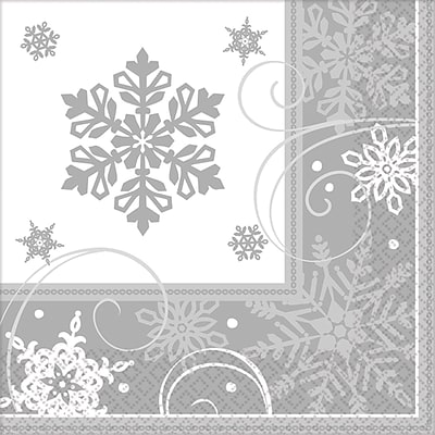 Amscan Sparkling Snowflake Beverage Napkin, 5 x 5, 5/Pack, 16 Per Pack (501559)