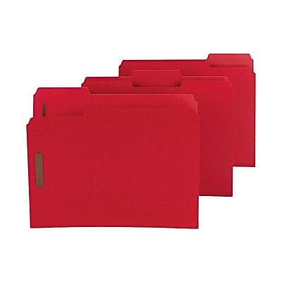 Smead Pressboard Classification Folders with SafeSHIELD Fasteners, 1/3-Cut Tab, Letter Size, Bright Red, 25/Box (14936)