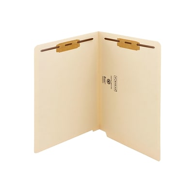 Smead Shelf-Master Recycled Reinforced End Tab Classification Folders, Straight-Cut Tab, Letter Size, Manila, 50/Box (34116)