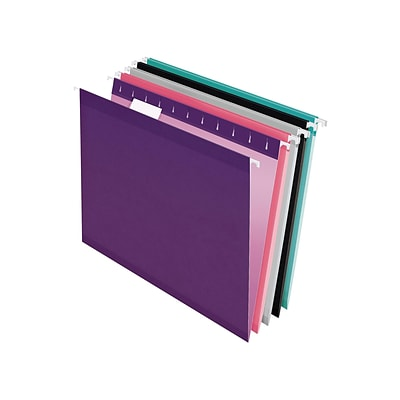 Pendaflex Reinforced Hanging File Folders, 1/5 Tab, Letter Size, Assorted Jeweltone Colors, 25/Box (PFX 4152 1/5 ASST2)