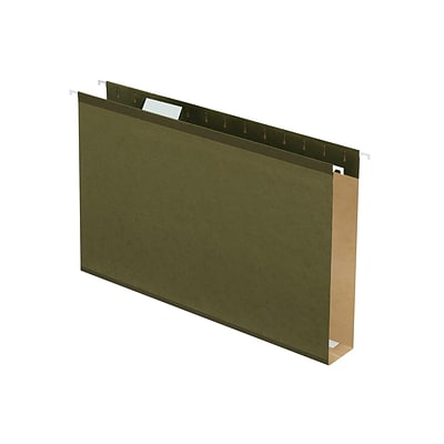 Pendaflex Reinforced Hanging File Folders, Extra Capacity, 5-Tab, Legal Size, 2 Expansion, Standard Green, 25/Box (PFX 04153x2)
