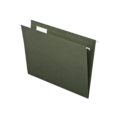 Quill Brand® Standard Green 100% Recycled Hanging File Folders; 1/5-Cut Adjustable Tabs, Letter Size, 25/BX