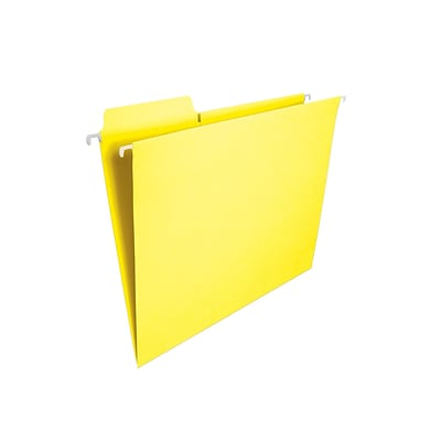 Smead FasTab Hanging File Folders, 1/3-Cut Tab, Letter Size, Yellow, 20/Box (64097)