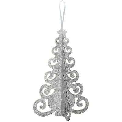 Amscan 3D MDF Glitter Tree Centerpiece, Silver, 10 x 6.5 x 6.5, 4/Pack (240572)