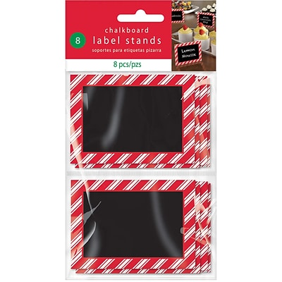 Amscan Christmas Chalkboard Label Stand, 2.375 x 3.375 x .125, 3/Pack, 8 Per Pack (400125)
