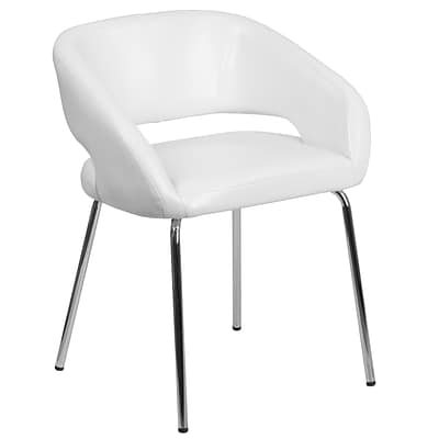 Fusion Series Contemporary White Leather Side-Reception-Lounge Chair [CH-162731-WH-GG]