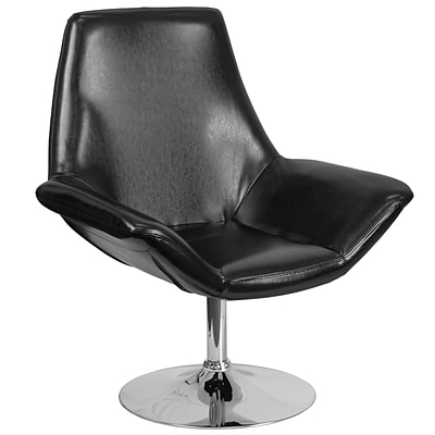 HERCULES Sabrina Series Black Leather Reception Chair [CH-102242-BK-GG]