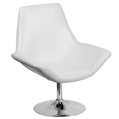 HERCULES Sabrina Series White Leather Reception Chair (CH-102242-WH-GG)