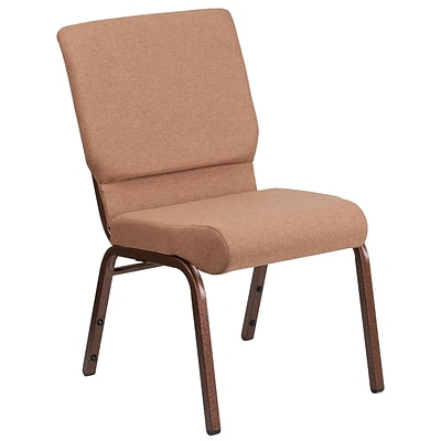 HERCULES Series 18.5W Caramel Fabric Stacking Church Chair with 4.25 Thick Seat - Copper Vein Frame [FD-CH02185-CV-BN-GG]