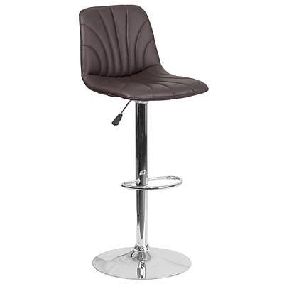 Contemporary Brown Vinyl Adjustable Height Barstool with Chrome Base [DS-8220-BRN-GG]