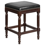26 High Backless Cappuccino Wood Counter Height Stool with Black Leather Seat [TA-4102A-26-CA-GG]