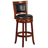 30 High Light Cherry Wood Barstool with Black Leather Swivel Seat [TA-355530-LC-GG]