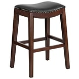 30 High Backless Cappuccino Wood Barstool with Black Leather Seat (TA-411030-CA-GG)