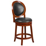 26 High Light Cherry Counter Height Wood Barstool with Walnut Leather Swivel Seat [TA-550126-LC-GG