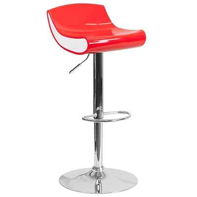 Contemporary Red and White Adjustable Height Plastic Barstool with Chrome Base (CH-101010-RED-GG)