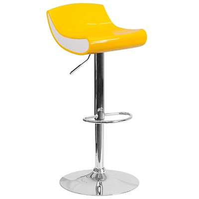 Contemporary Yellow and White Adjustable Height Plastic Barstool with Chrome Base [CH-101010-YL-GG]