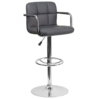 Contemporary Gray Quilted Vinyl Adjustable Height Barstool with Arms and Chrome Base [CH-102029-GY-G