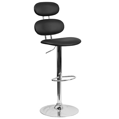 Contemporary Black Vinyl Adjustable Height Barstool with Chrome Base [CH-112280-BK-GG]