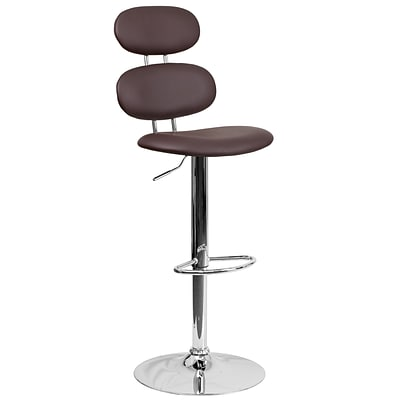 Contemporary Brown Vinyl Adjustable Height Barstool with Chrome Base [CH-112280-BRN-GG]
