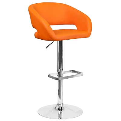 Contemporary Orange Vinyl Adjustable Height Barstool with Chrome Base (CH-122070-ORG-GG)