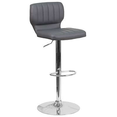 Contemporary Gray Vinyl Adjustable Height Barstool with Chrome Base [CH-132330-GY-GG]