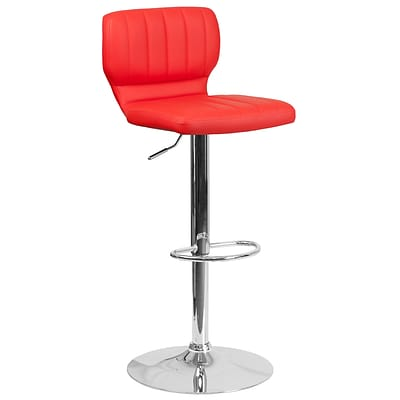 Contemporary Red Vinyl Adjustable Height Barstool with Chrome Base [CH-132330-RED-GG]