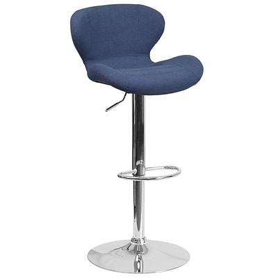 Contemporary Blue Fabric Adjustable Height Barstool with Chrome Base [CH-321-BLFAB-GG]